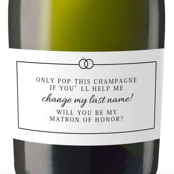 Will you be my Bridesmaid stickers, Will you be my Maid of Honor, Matron of Honor, Mini Champagne Bottle labels, Bridesmaid proposal #175