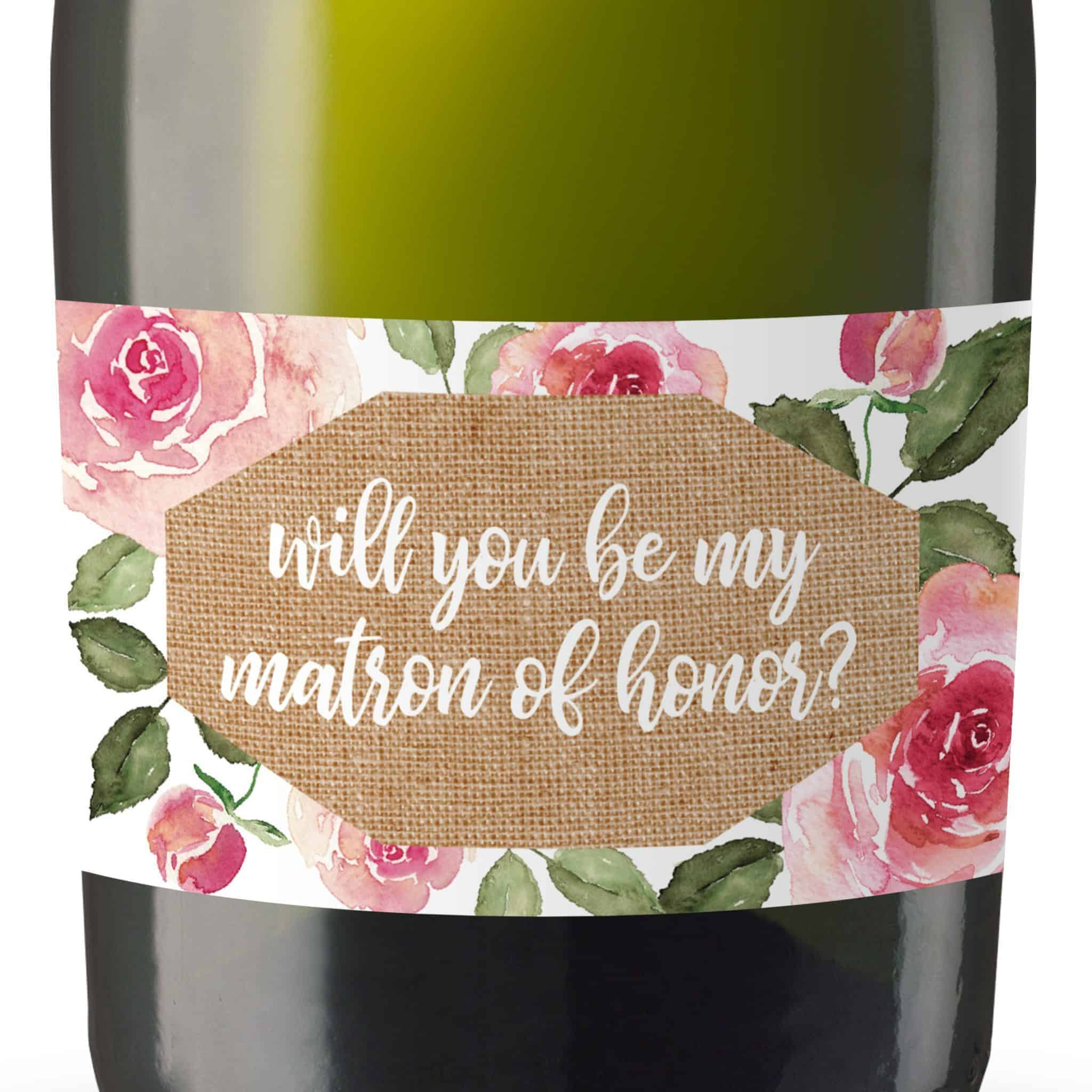 Will you be my Bridesmaid stickers, Will you be my Maid of Honor, Matron of Honor, Mini Champagne Bottle labels- Rose Garden Design #179