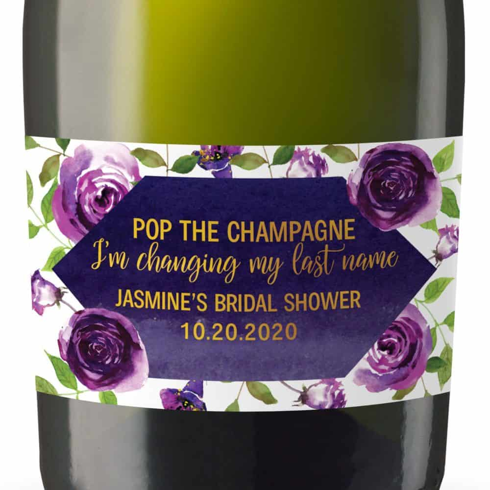 "Mini Champagne Bottle Label ""Purple Blossom"" by LoveAtEverySight"