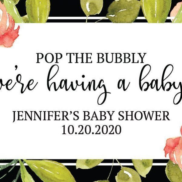 Pop the Bubbly we've having a baby!, Mini Champagne Bottle Labels for Baby Shower, Baby Shower Custom Mini Champagne Label mn168