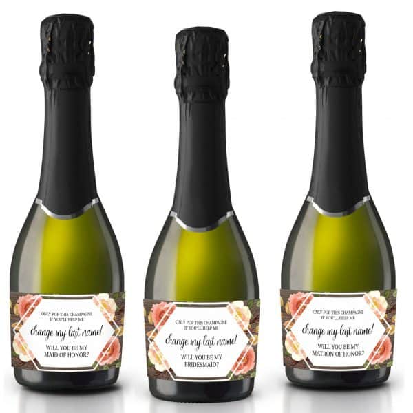 Mini Champagne Bottle Label Stickers, Change My Last Name! Will you be my Bridesmaid&Maid of Honor, Matron of Honor, Bridal shower Gifts 171