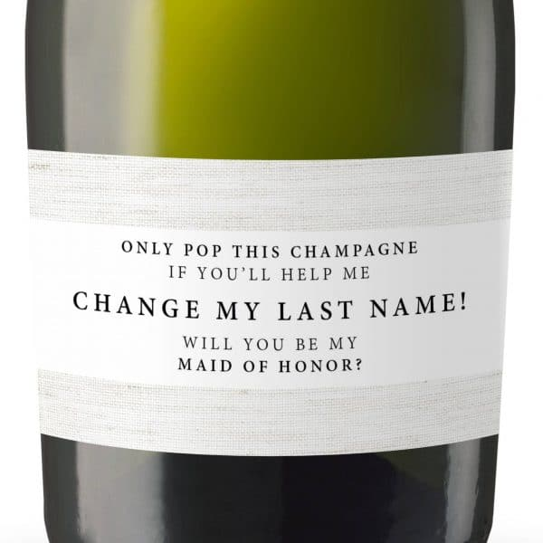Mini Champagne Bottle Label Stickers, Change My Last Name! Will you be my Bridesmaid&Maid of Honor, Matron of Honor, Bridal shower Gifts 172