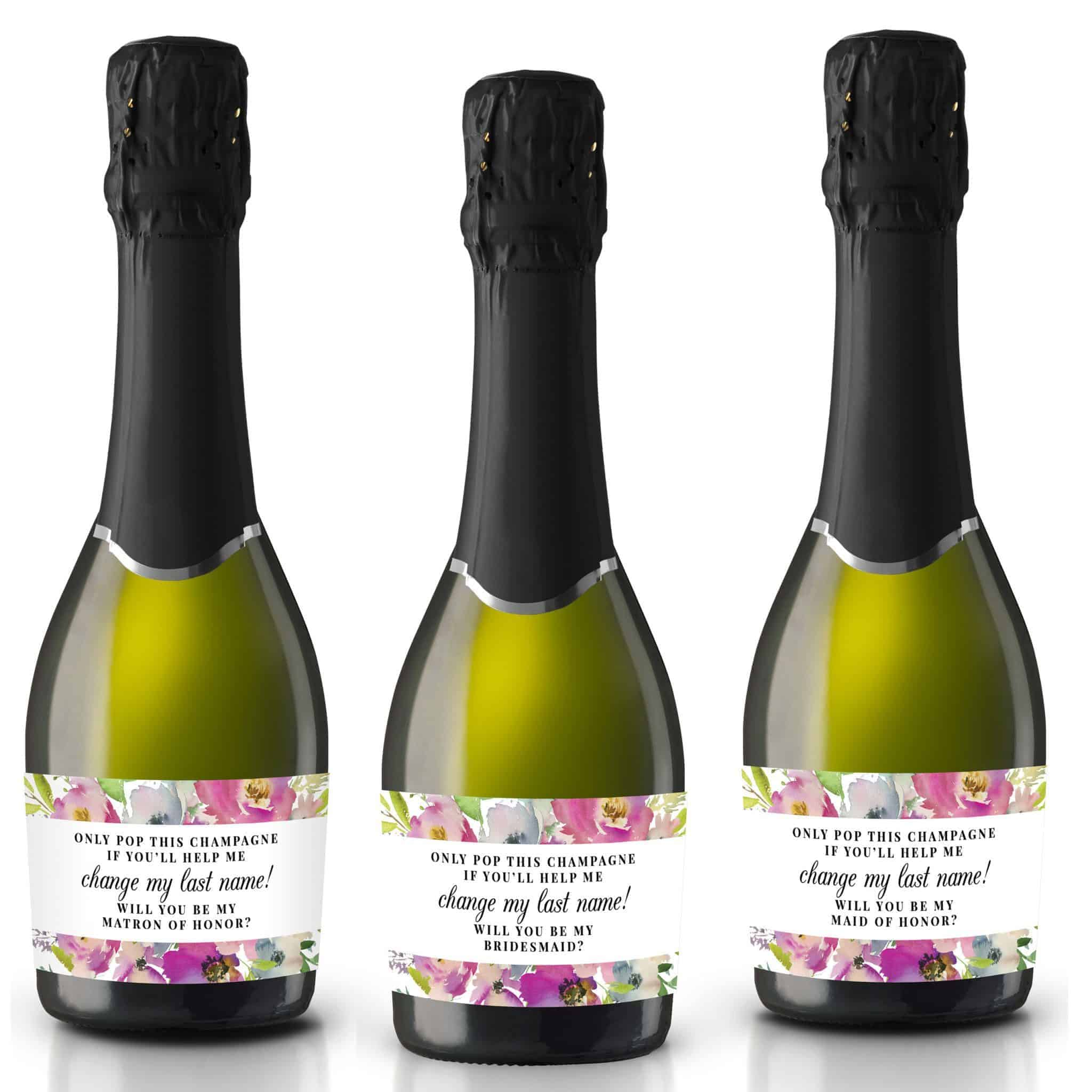 Will you be my Bridesmaid stickers, Will you be my Maid of Honor, Matron of Honor, Mini Champagne Bottle labels, Bridesmaid proposal #178