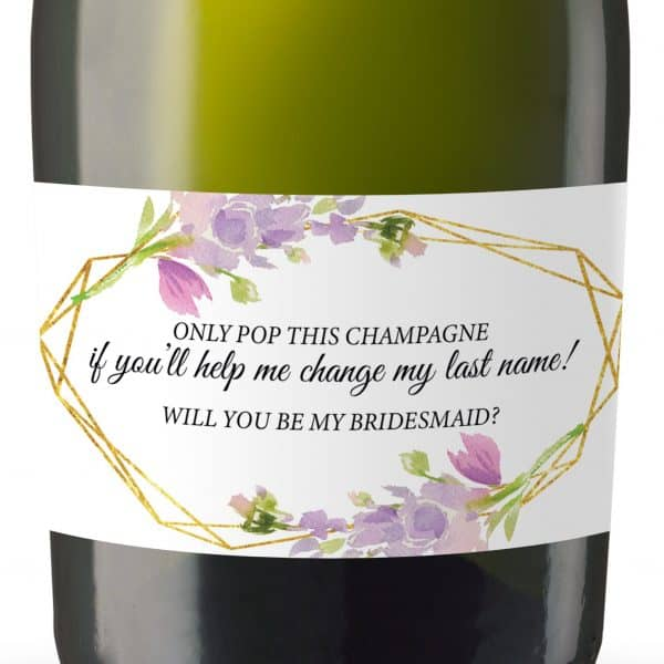Will you be my Bridesmaid stickers, Will you be my Maid of Honor, Matron of Honor, Mini Champagne Bottle labels- Violet Floral Design #185