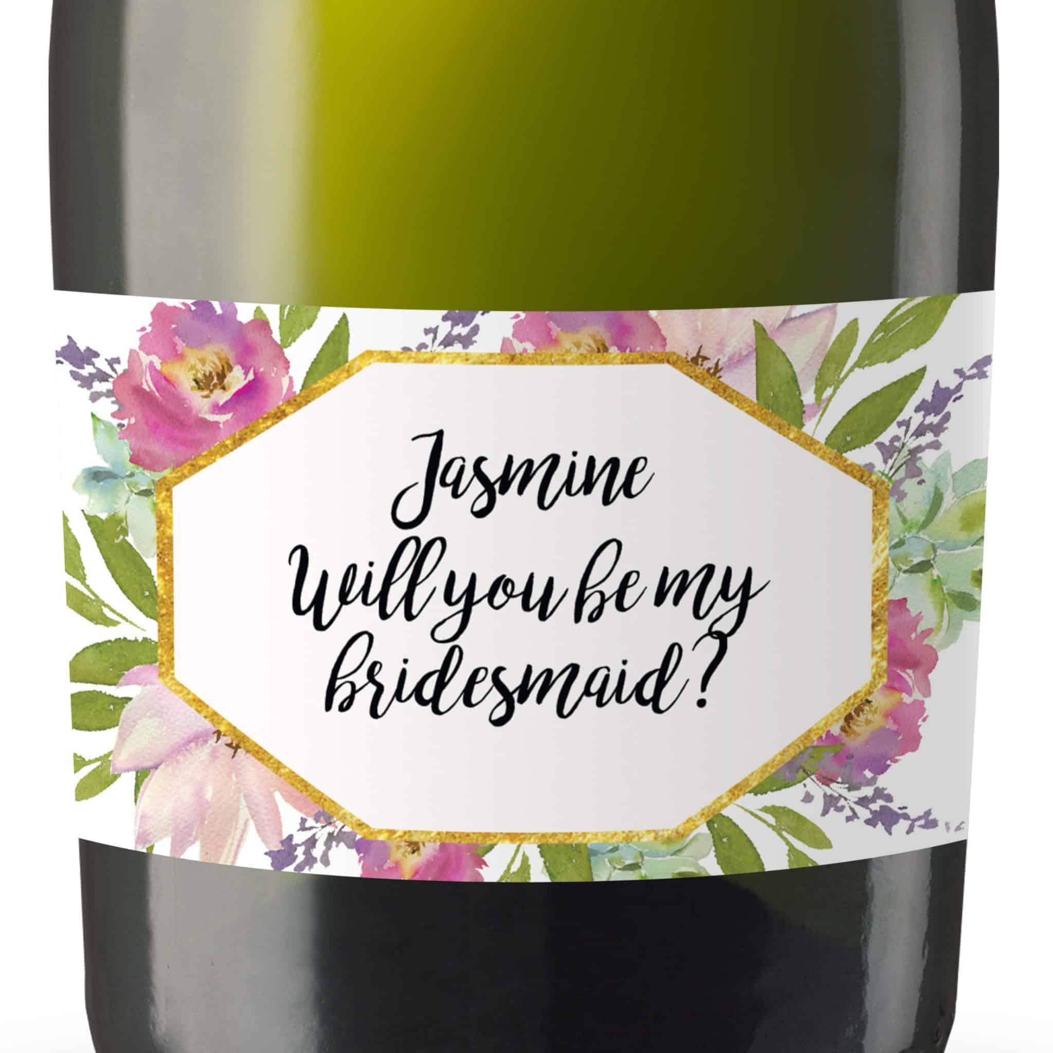 Will you be my Bridesmaid stickers, Will you be my Maid of Honor, Matron of Honor, Mini Champagne Bottle labels- Fresh Garden Design #181