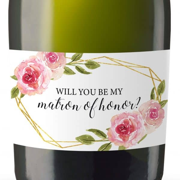 Will you be my Bridesmaid stickers, Will you be my Maid of Honor, Matron of Honor, Mini Champagne Bottle labels- Pink Roses Design #182