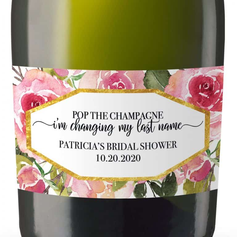 Bridal Shower Mini Champagne Bottle Label, Custom Bridal Shower Mini Champagne Label, Personalized Mini Champagne Label- Rose Design MN#180