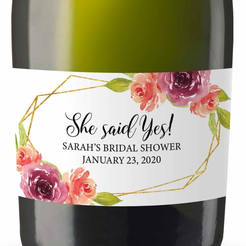 Bridal Shower Mini Champagne Bottle Label, Custom Bridal Shower Mini Champagne Label, Personalized Mini Champagne Label- Rose Design MN#183