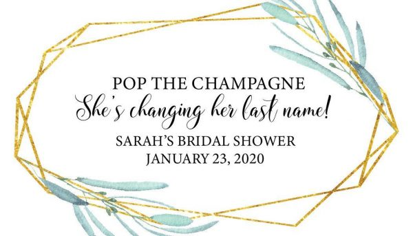 Bridal Shower Mini Champagne Bottle Label, She is changing her last name!, Customized, Personalized Mini Champagne Label- Rose Design MN#184