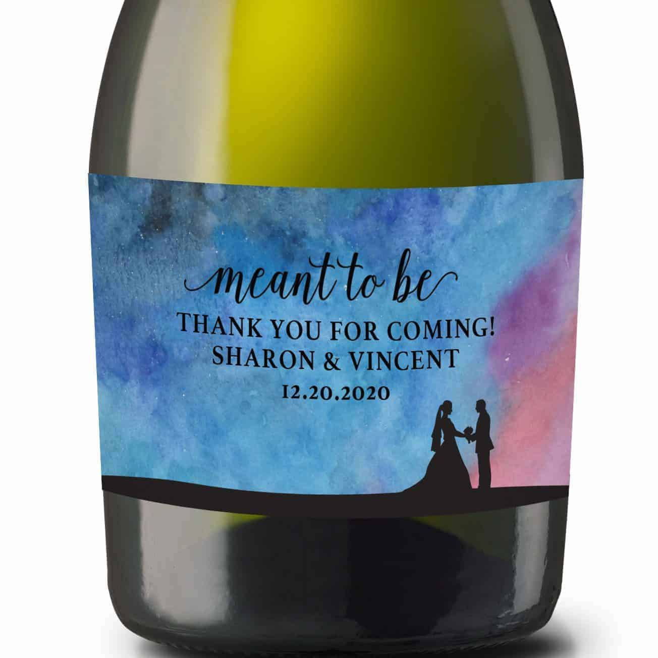 """Wedding Mini Champagne Bottle Labels """"meant to be"""", Custom Mini Champagne Label, Mini Champagne Wedding Labels, Watercolor Dream mn204"""