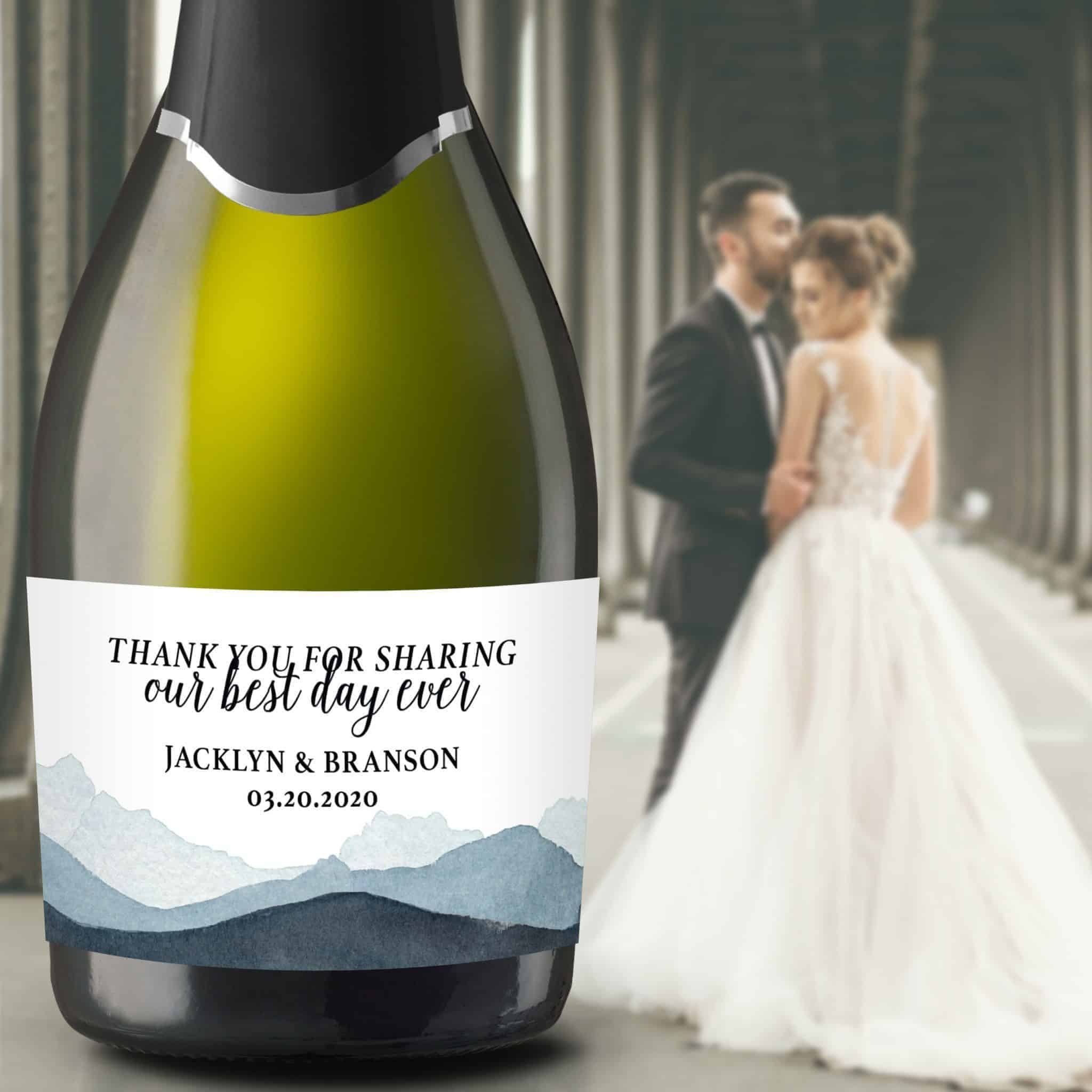 "Wedding Mini Champagne Bottle Labels ""Our Best Day Ever"", Custom Mini Champagne Label, Mini Champagne Wedding Labels, Watercolor Peak mn205"