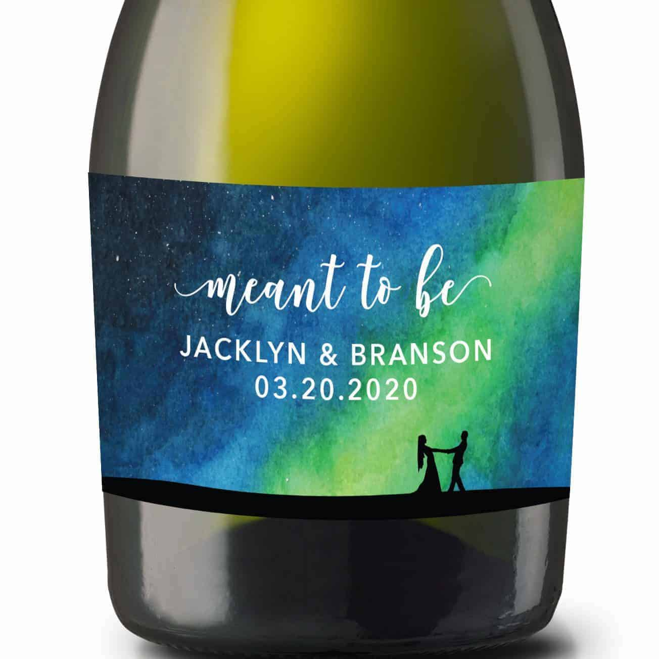 """Wedding Mini Champagne Bottle Labels """"meant to be"""", Custom Mini Champagne Label, Mini Champagne Wedding Labels, Streamers Design mn207"""