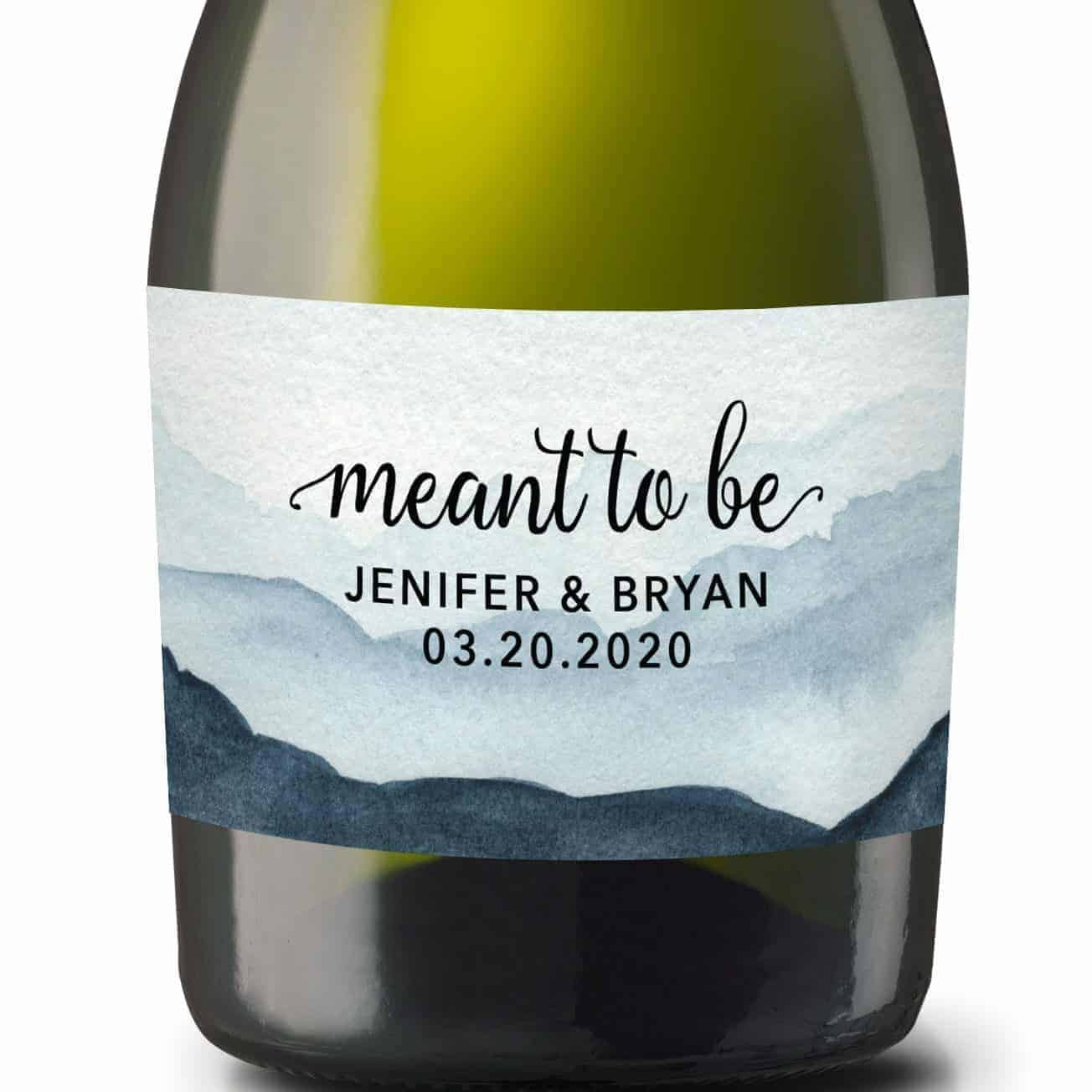 """Wedding Mini Champagne Bottle Labels """"meant to be"""", Custom Mini Champagne Label, Mini Champagne Wedding Labels, Watercolor Mist Theme mn208"""