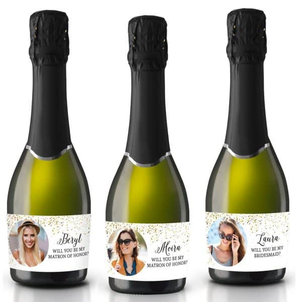 Will you be my bridesmaid, Maid of Honor, Matron of Honor, Mini Champagne Bridesmaid Gift Label Stickers with Pictures, Customizable mn190