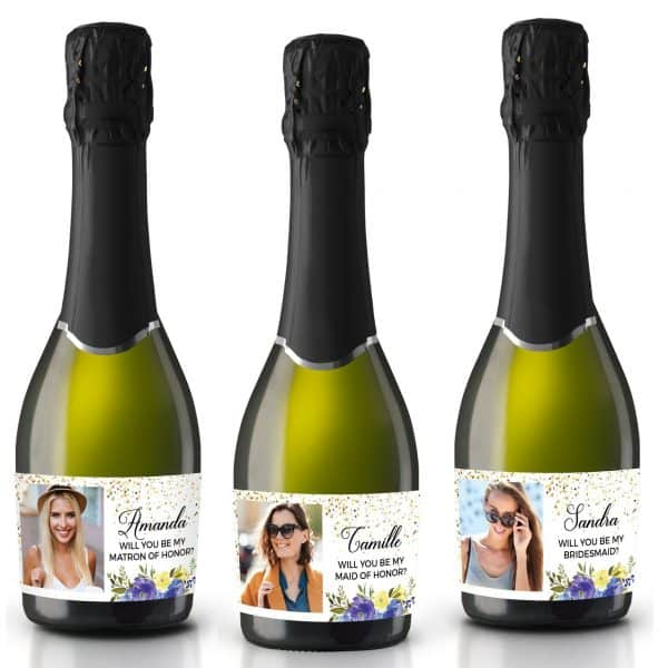 Will you be my bridesmaid, Maid of Honor, Matron of Honor, Mini Champagne Bridesmaid Gift Label Stickers with Pictures, Customizable mn191