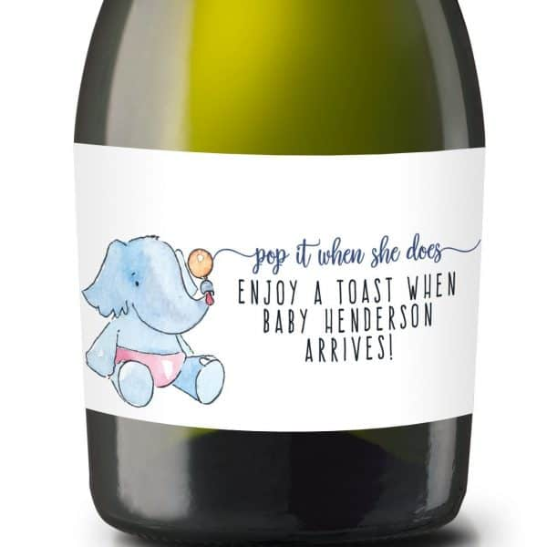 "Mini Champagne Pregnancy Label Stickers ""Pop it when She Does!"", Custom and Personalized Pregnancy Baby Announcement Label Sticker mn214"
