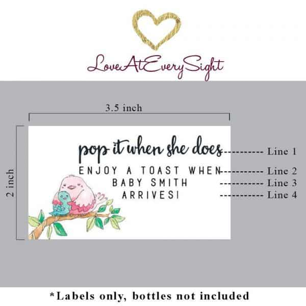 """Mini Champagne Pregnancy Label Stickers """"Pop it when She Does!"""", Custom and Personalized Pregnancy Baby Announcement Label Sticker mn214"""