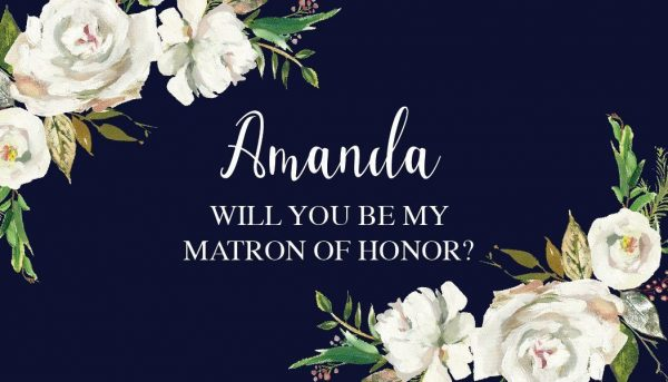 Will You Be My Bridesmaid,Matron & Maid of Honor,Mini Champagne Wine Bottle Label Sticker, Dark Blue Design-Personalized, Customizable mn193