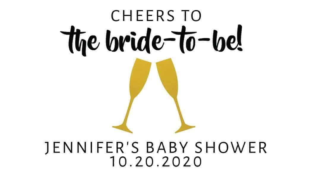 Bride-to-Be Mini Champagne Bottle Label, Custom Bridal Shower Mini Champagne Label, Personalized Mini Champagne Label- Cheers Design mn201