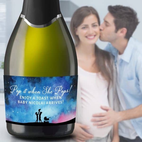 "Mini Champagne Pregnancy Label Stickers ""Pop it when She Pops!"", Custom and Personalized Pregnancy Baby Announcement Label Sticker mn202"