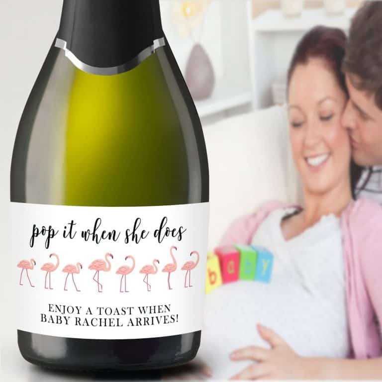 "Mini Champagne Pregnancy Label Stickers ""Pop it when She Does!"", Custom and Personalized Pregnancy Baby Announcement Label Sticker mn212"