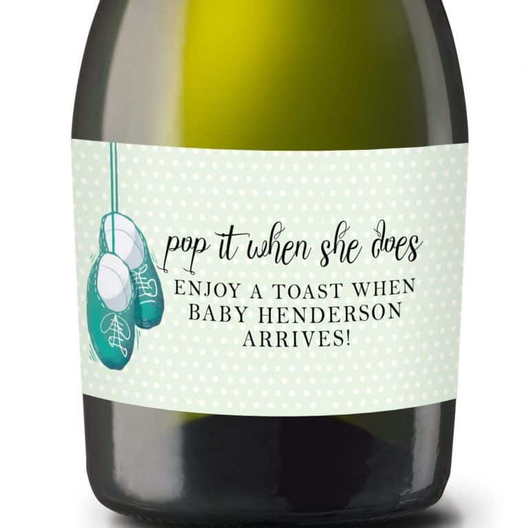 "Mini Champagne Pregnancy Label Stickers ""Pop it when She Does!"", Custom and Personalized Pregnancy Baby Announcement Label Sticker mn213"