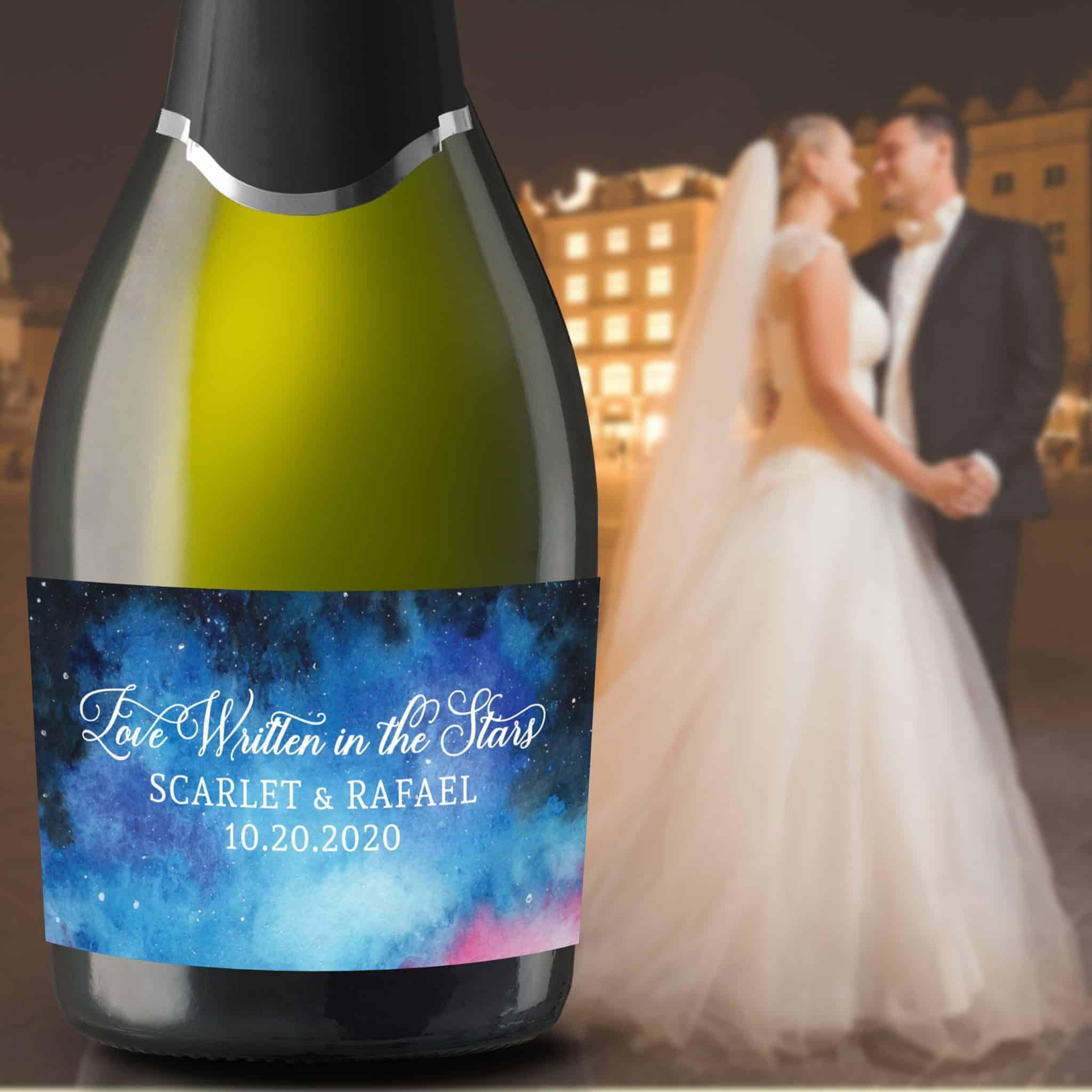 "Mini Champagne Labels for Wedding ""Love Written in the Stars"", Custom Mini Champagne Label, Mini Champagne Wedding Labels, Sky&Stars mn203"