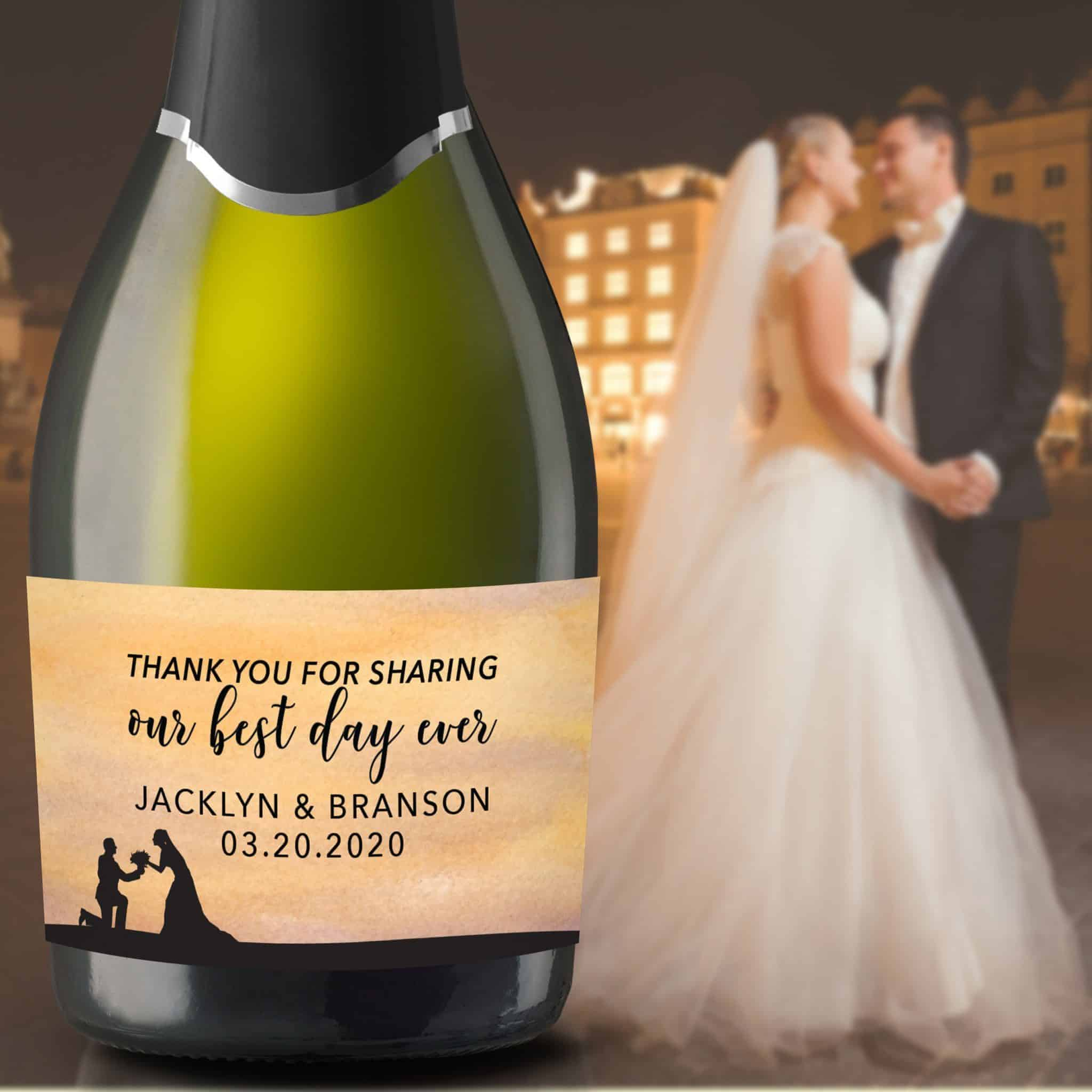 "Wedding Mini Champagne Bottle Labels ""Our Best Day Ever"", Custom Mini Champagne Label, Mini Champagne Wedding Labels, Watercolor Shine mn206"