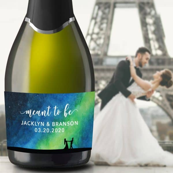 "Wedding Mini Champagne Bottle Labels ""meant to be"", Custom Mini Champagne Label, Mini Champagne Wedding Labels, Streamers Design mn207"