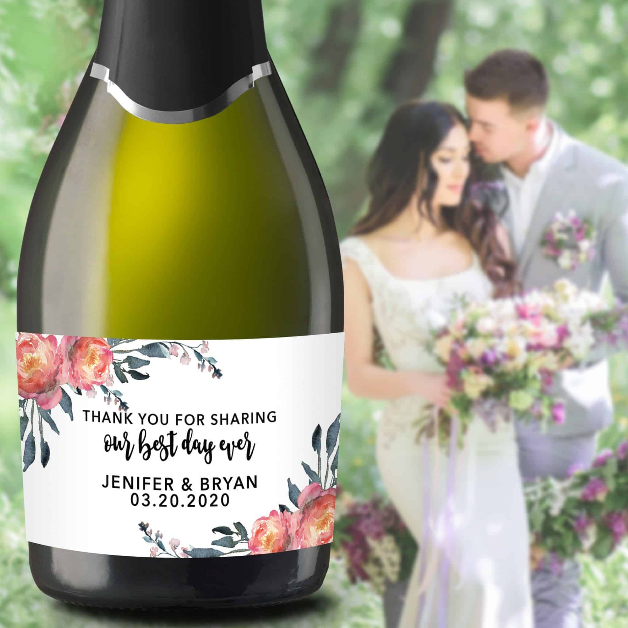 "Wedding Mini Champagne Bottle Labels ""Our Best Day Ever"", Custom Mini Champagne Label, Mini Champagne Wedding Labels, Floral Theme mn209"