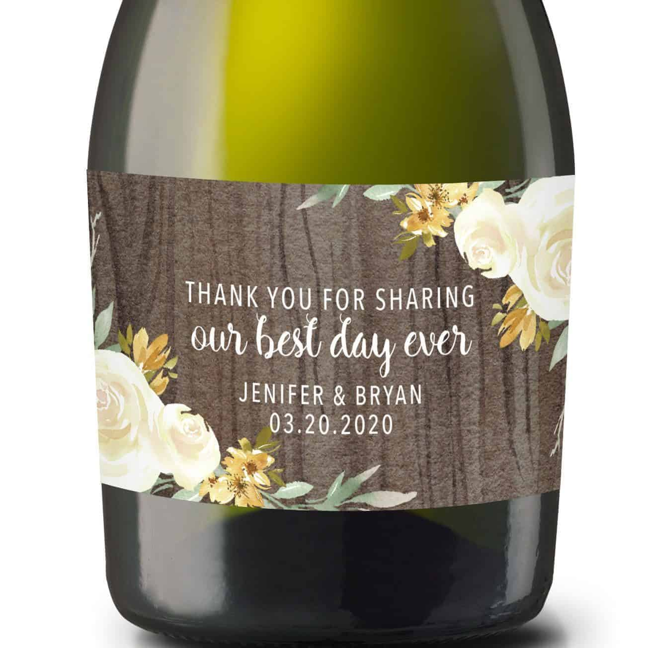 """Wedding Mini Champagne Bottle Labels """"Our Best Day Ever"""", Custom Mini Champagne Label, Mini Champagne Wedding Labels, Rustic Theme mn210"""