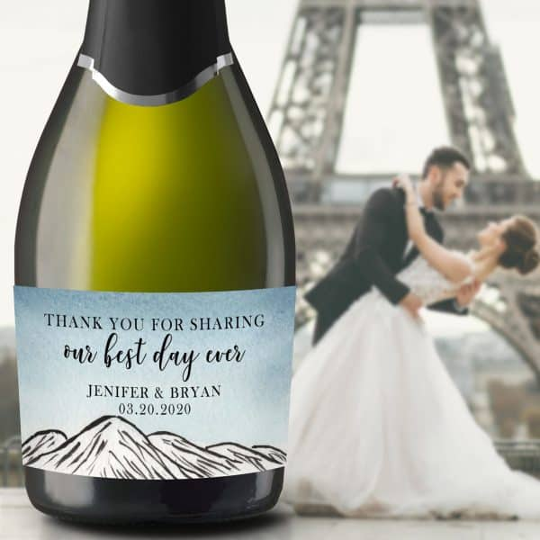 "Wedding Mini Champagne Bottle Labels ""Our Best Day Ever"", Custom Mini Champagne Label, Mini Champagne Wedding Labels, Mountain Theme mn211"