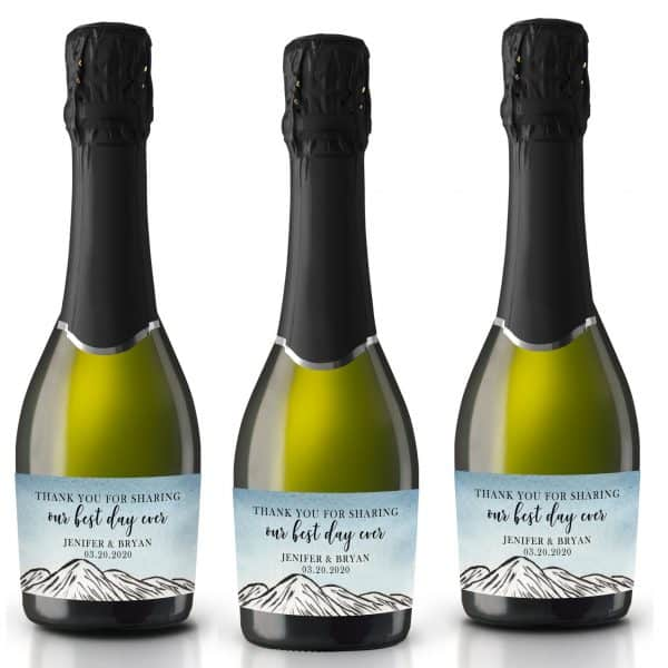 """Wedding Mini Champagne Bottle Labels """"Our Best Day Ever"""", Custom Mini Champagne Label, Mini Champagne Wedding Labels, Mountain Theme mn211"""