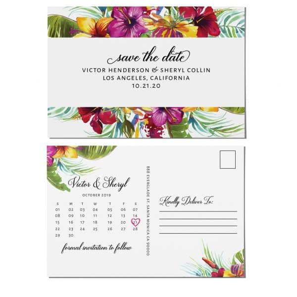 Simple Save the Date Postcards, Wedding Save the Date Post Cards, Save the Date Cards, Floral Garden Flowers, Calendar Save the Date