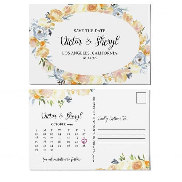 Save the Date Postcards, Wedding Save the Date Post Cards, Save the Date Cards- Floral Garden Theme, Calendar Save the Date