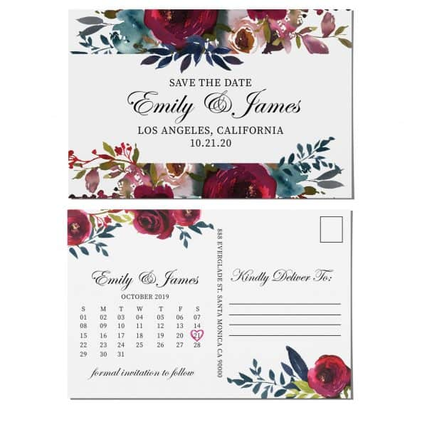 Attractive Save the Date Postcards, Wedding Save the Date Post Cards, Save the Date Cards- Floral Watercolor Theme, Calendar Save the Date