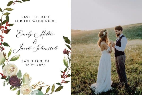 Rustic Save the Date Postcards with Photo, Wedding Save the Date Post Cards, Vintage Floral Save the Date Cards, Calendar Save the Date