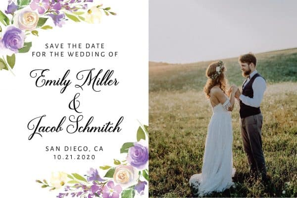 Wedding Save the Date Postcards with Photo, Save the Date Wedding Announcement Postcards, Marriage Announcement Save the Date- Gentle Floral Design