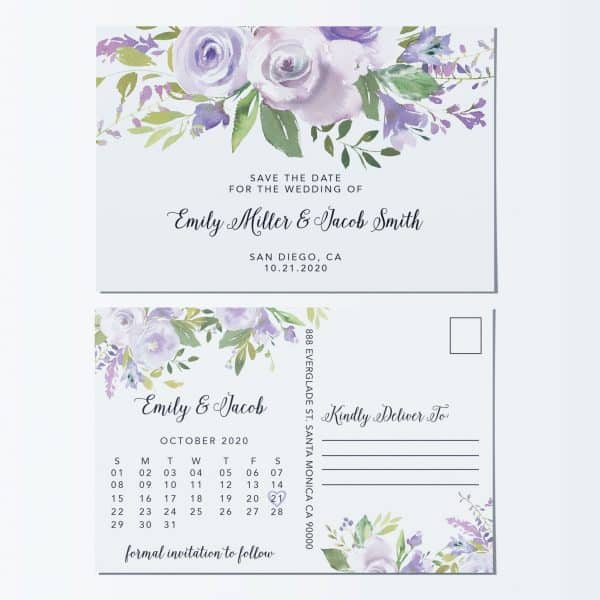 Lovely Save the Date Postcards, Save the Date Wedding Announcement Postcards, Marriage Announcements- Awesome Light Floral Theme