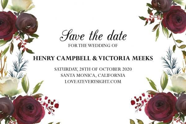 Exclusive Save the Date Postcards, Save the Date Wedding Announcement Postcards, Marriage Notice- Incredible Floral Design