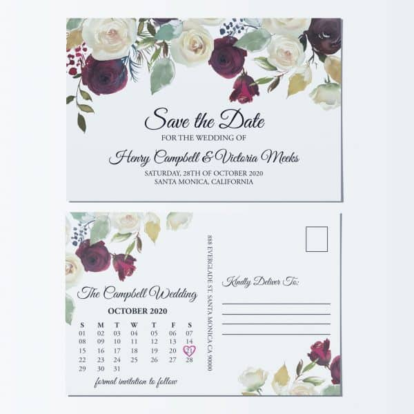 Unique Wedding Save the Date Postcards, Save the Date Wedding Announcement Postcards, Marriage Notice- Wonderful Floral Theme