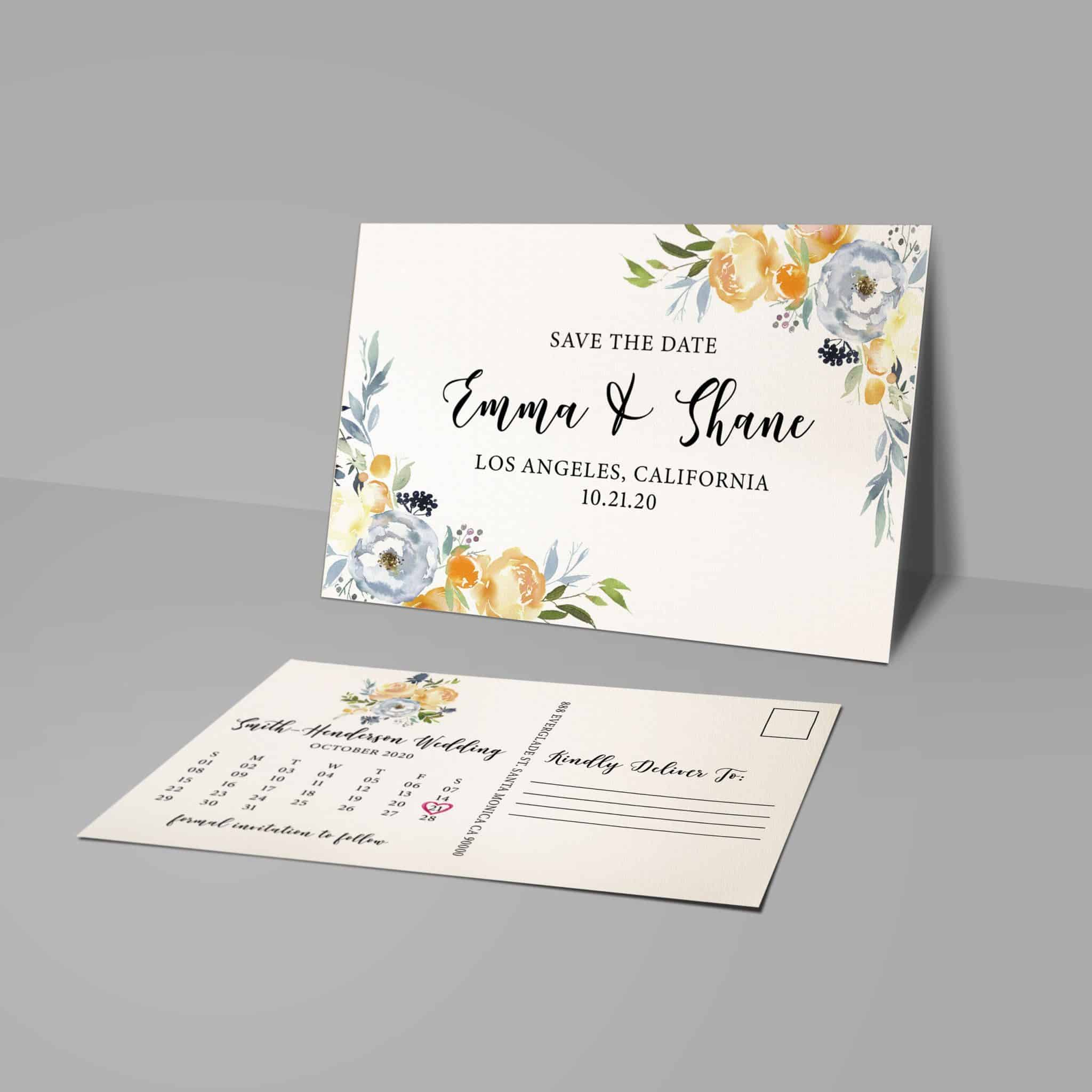Floral Border Save the Dates, Wedding Save the Date Postcards, Announcement for Family Save the Date Cards, Calendar Save the Date