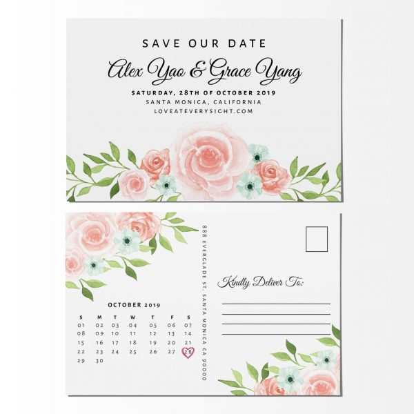 Customizable Save the Date Post Cards, Wedding Announcement Cards, Just Send us Your Details, Superb Floral Theme