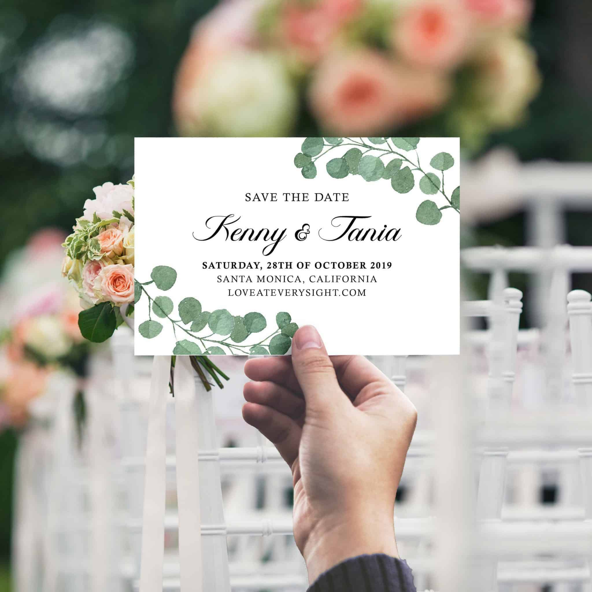 Themed Save The Date Postcards, Custom Wedding Announcement Cards, Wedding Favors, Playful Leaves Design