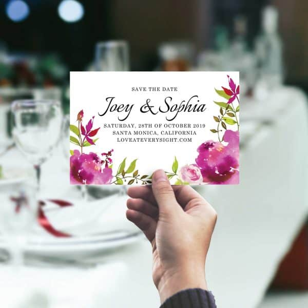 Popular Save The Date Postcards Custom Wedding Announcement Cards, Wedding Favors, Brilliant Floral Theme