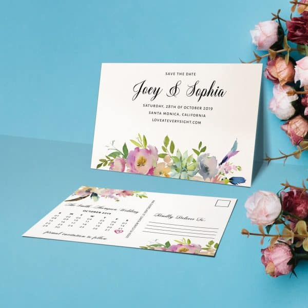 Creative Save The Date Postcards, Custom Wedding Announcement Cards, Wedding Favors, Splashy Floral Theme
