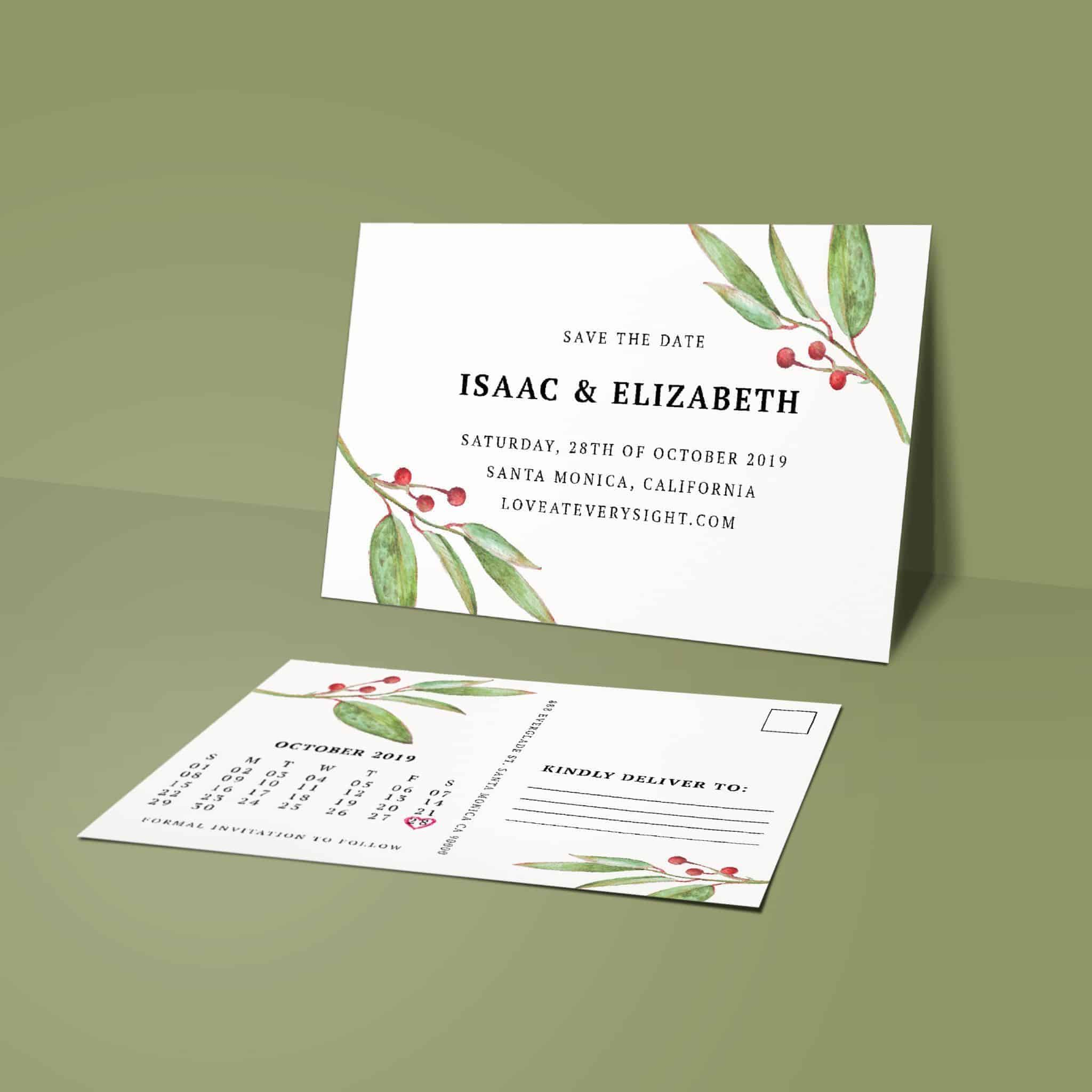 Attractive Rustic Save the Date Postcards, Marriage Calendar Save the Date Post Cards, Floral- Garden Flowers