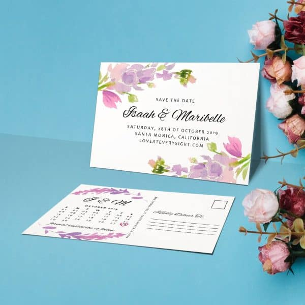 Save the Date Announcement Postcards, Wedding Save the Date Postcards, Calendar Announcement for Friends Save the Date Floral Cards