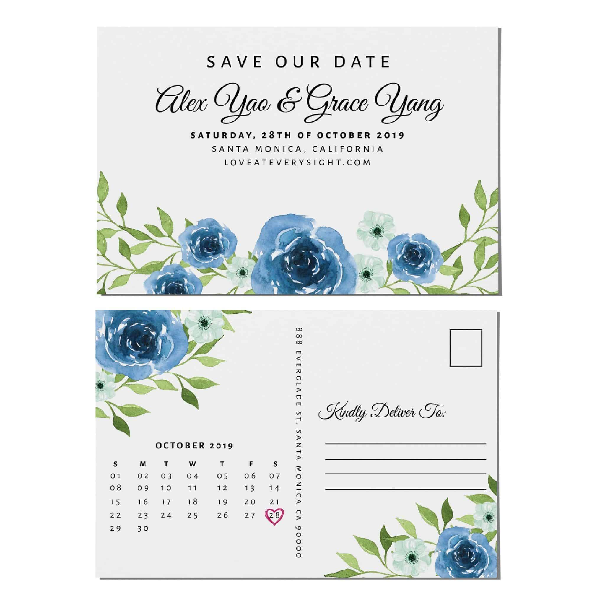 Wedding Calendar Announcement Postcards, Wedding Save the Date Postcards, Save the Date Announcement for Relatives Save the Date Cards