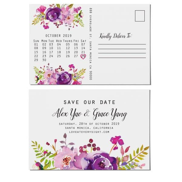 Rustic Save the Date Postcards, Wedding Save the Date Post Cards, Save the Date Cards- Invite your relatives and friends- Floral Design